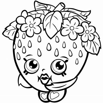 Shopkins Coloring Pages Strawberry Printable Kiss