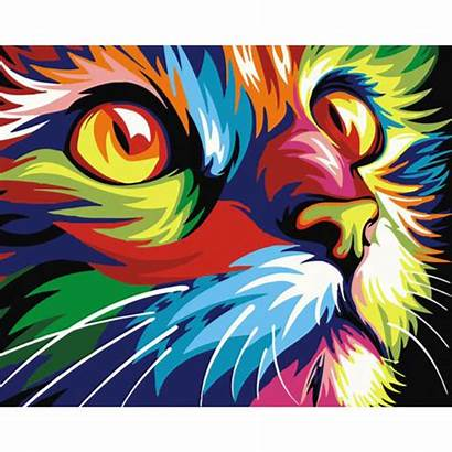 Psychedelic Cat Numbers Paint