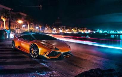 Lamborghini Night Road Orange Exposure Sports Luxury