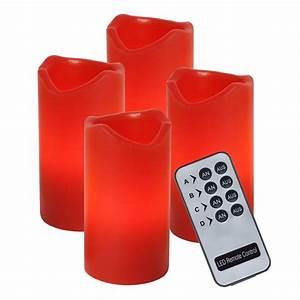 Led Kerzen Mit Fernbedienung 4er Set : 4er set led kerzen rot einzeln schaltbar per fernbedienung adventskerzen ~ Orissabook.com Haus und Dekorationen