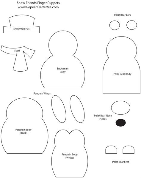 puppet template snow friends finger puppets repeat crafter me