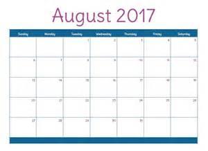 Cute August 2017 Calendar Printable Org