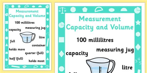 free key stage 1 measurement capacity and volume poster