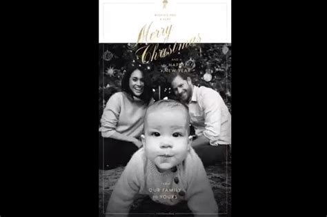 The sweet black and white. Baby Archie sports £65 cashmere jumper from Mini Boden for his first Royal Christmas card ...