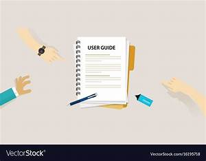 User Guide Document On Table Book Manual Vector Image