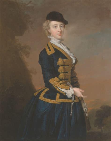 Ca 1745 Portrait Of Nancy Fortescue Wearing A Dark Blue