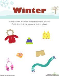 wear   winter seasons worksheets