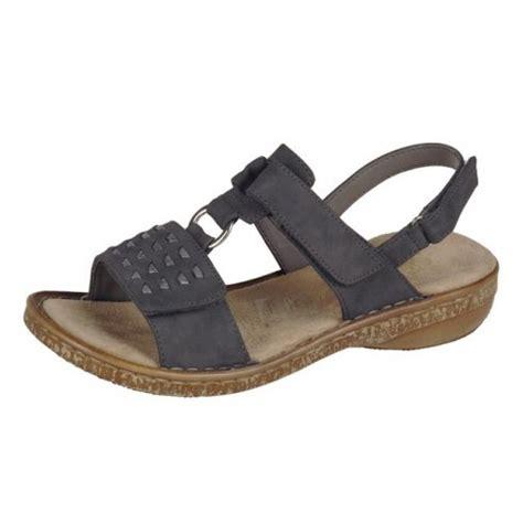 rieker grey flat velcro fastening sandal rieker
