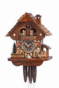 Hones, Chalet, Style, One, Day, Musical, Cuckoo, Clock, With, Moving, Clock, Peddler, Water, Wheel, U0026, Dancers