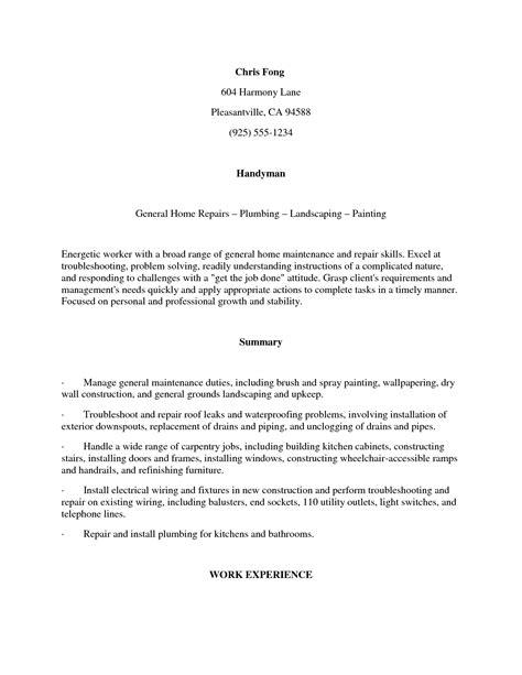 Handyman Resume Cover Letter Exles by Handyman Sle Resume Best Letter Sle