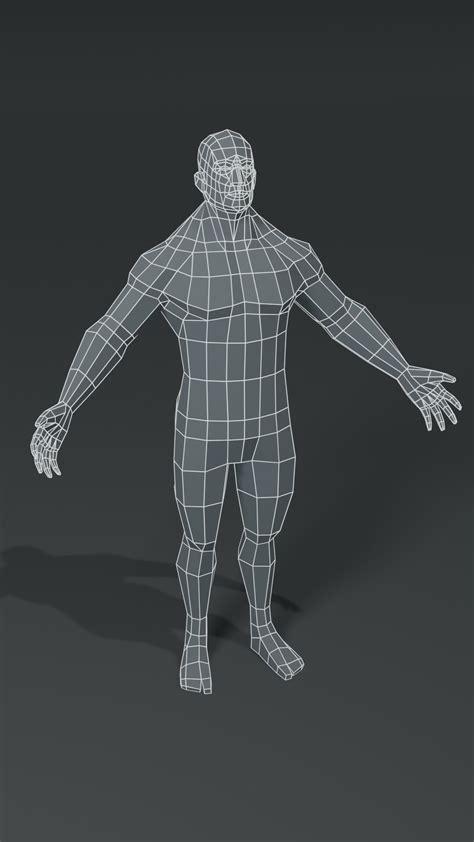 ArtStation - Muscular Human Body Base Mesh 3D Model Pack 1000 Polygons | Game Assets