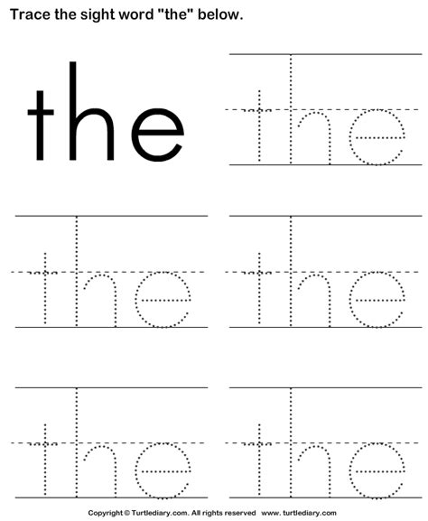 preschool sight words printables trace the sight words turtlediary