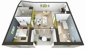 plan maison 3d d39appartement 2 pieces en 60 exemples With plan maison r 1 gratuit 4 2 logiciels pour visualiser votre maison en 2d et 3d