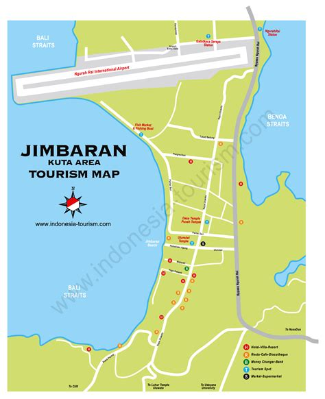 detail jimbaran bay location map  tourists guide bali