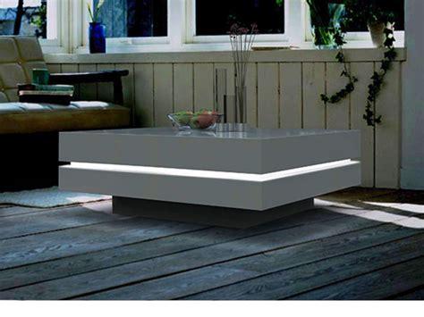 loisir cuisine table basse carrée lyess mdf laqué leds blanc ou noir