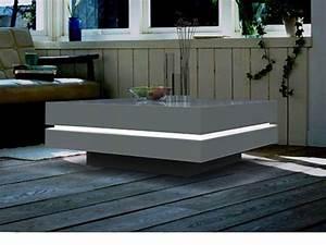 Table Basse Carrée Blanc Laqué : table basse carr e avec leds mdf laqu blanc ~ Teatrodelosmanantiales.com Idées de Décoration