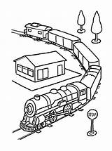 Coloring Pages Train Trains Printable Station Colors Railroad Colored sketch template