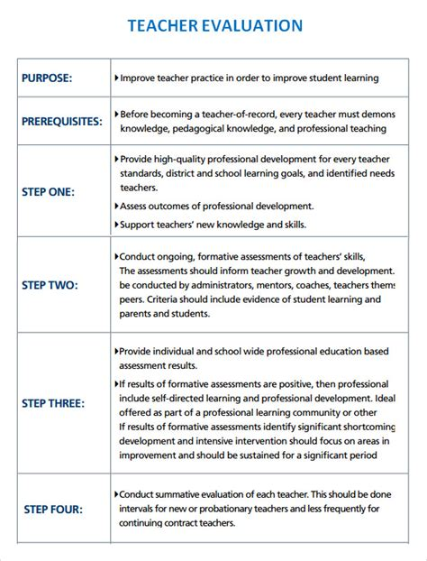 sample evaluation 8 documents in word pdf 734   Teacher Evaluation Format Template Download