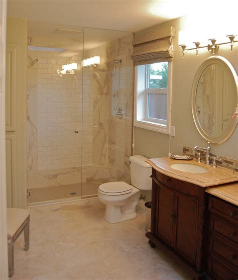 porcelain tile    travertine bathroom
