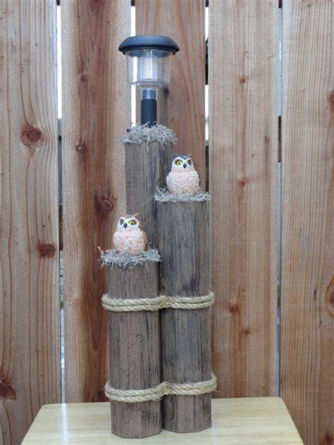 wooden post decor  solar light  owls solar light