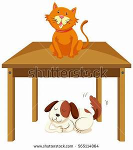 Cat On Table Dog Under Table Stock Vector 565114864 ...