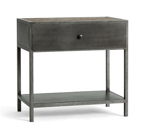 Big Daddy's Antiques Metal Bedside Table   Pottery Barn