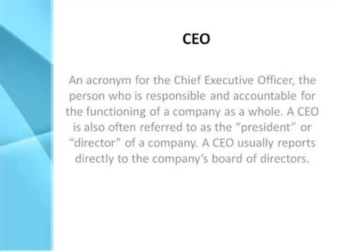 Ceo Definition  What Does Ceo Mean? Youtube