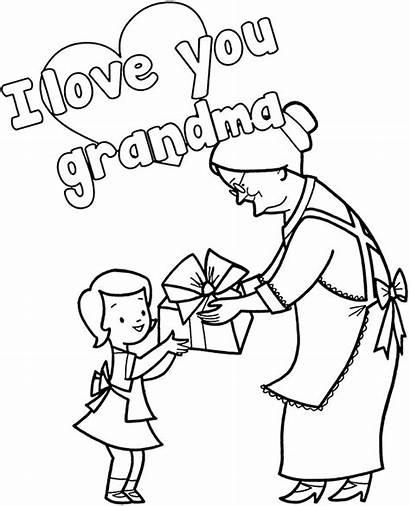 Grandma Coloring Cards Card Greeting Sheet Heart