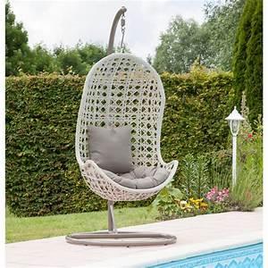 Fauteuil En Oeuf : fauteuil suspendu forme uf taupe ivoire etna les canap s et fauteuils de jardin meubles ~ Farleysfitness.com Idées de Décoration