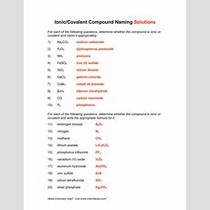 Ioniccovalent Compound Naming Solutions