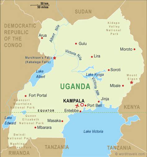 uganda map uganda travel maps  word travels