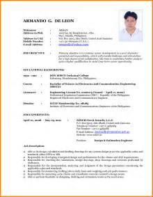resume format for freshers docx to pdf cv format sle