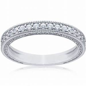 1 2ct vintage diamond wedding ring 14k white gold womens With wedding band rings for women