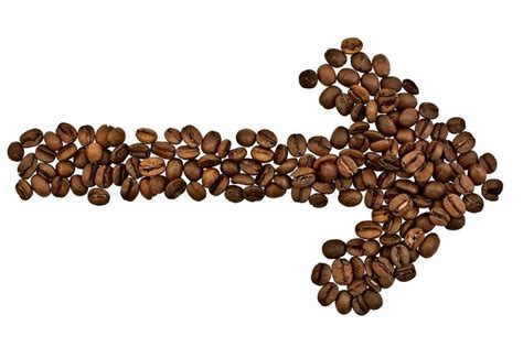 drink kopi arrow from the coffee beans isolated on white background