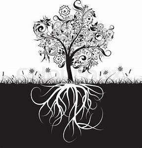 Decorative Tree And Roots  Grass  Vectorr Illustration