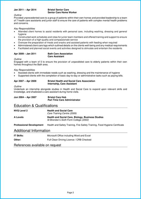 care assistant cv  writing guide land top care jobs