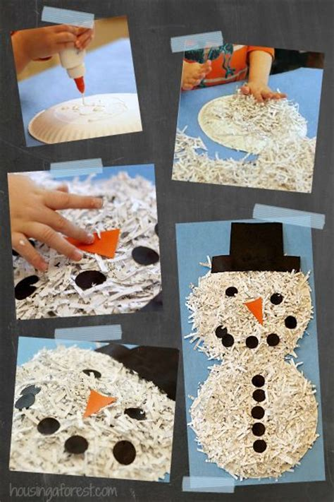shredded paper snowman simple recycled craft for 281   5d22d4213796ad9b42f7a61009c1e4c0 preschool winter winter activities