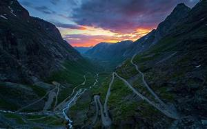 Nature, Landscape, Sunset, Mountain, Norway, Valley, River