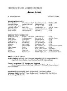 technical theatre resume format technical theatre and design resume template sle http