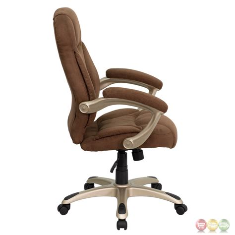 high back brown microfiber upholstered contemporary office