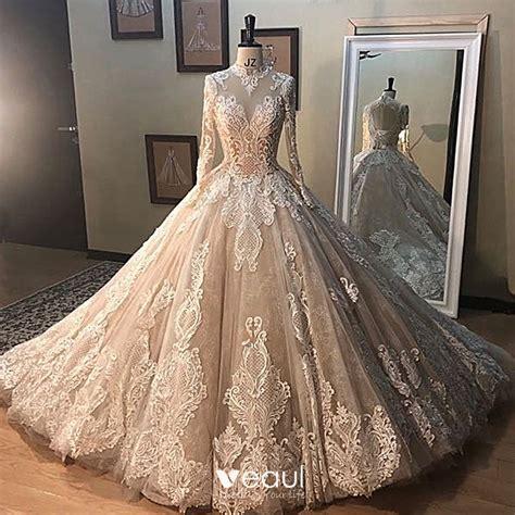 vintage retro champagne   wedding dresses    princess high neck long