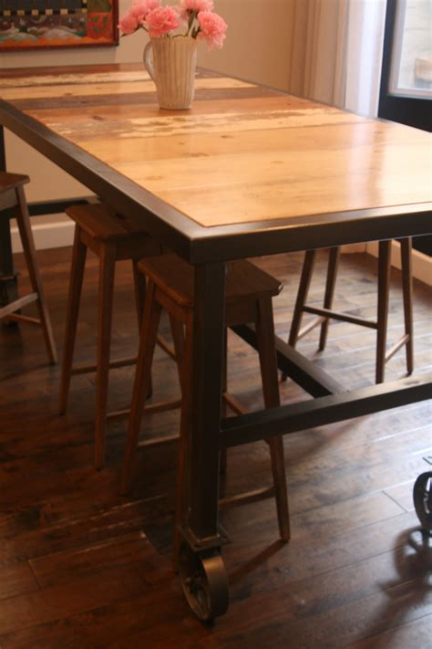 bar height dining table   caster wheels  reclaimed