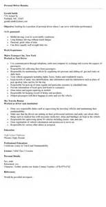 personal driver resume resume for truck driver