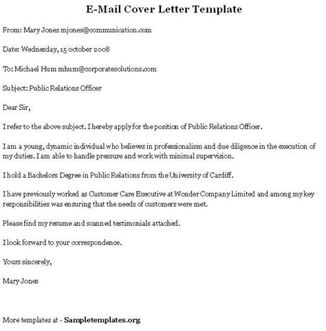 email cover letter exle great email cover letter