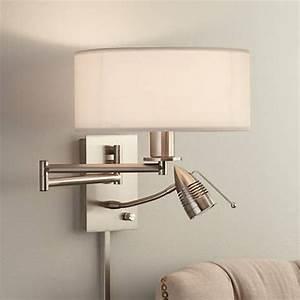 Possini euro tesoro led reading swing arm wall lamp for Floor mounted reading lamp