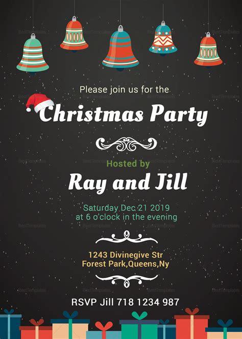 Chalkboard Christmas Invitation Card Design Template in