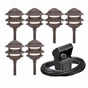 shop portfolio 6 light bronze low voltage path lights With outdoor lighting kit video