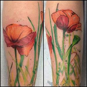 Pin Watercolor Poppy Flower Tattoo Painting On Skin Body ...