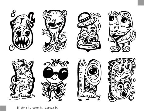 monster stickers  color stickers  color