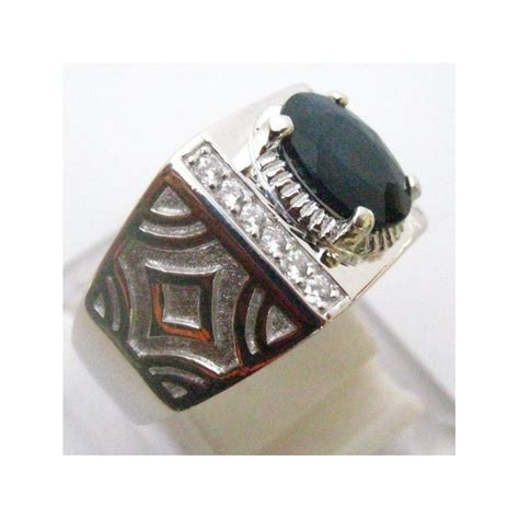 cincin silver 925 clasic elegan safir ring 6 75 us
